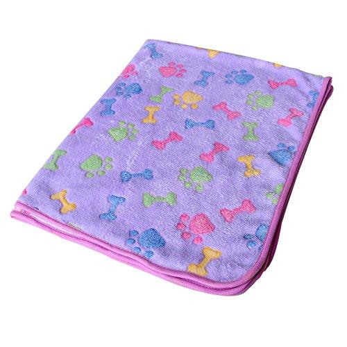 YSoutstripdu Cat Dog Puppy Kitty Kitten Pet Bone Paw Print Warm Coral Fleece Mat Soft Blanket Bed Pad