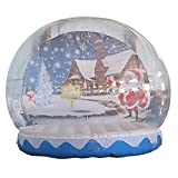 SAYOK Christmas Decoration Inflatable Snow Globe Transparent Bubble Tent with Printed Background Blower and Pump, 9.84ft