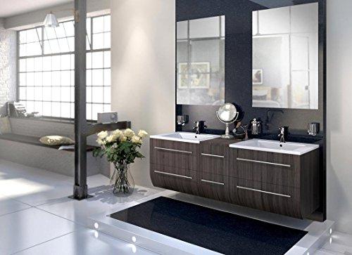 Bad11® - Badmöbelset ZESIRO - Farbton Trüffeleiche Holzoptik matt, mit Doppelwaschbecken und 2 x Spiegel, Waschtisch unten abgerundet, Farbauswahl