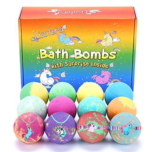 Bath Bombs for Kids with Toys Inside for Girls Boys - 12 Pcs XXL Large Size Gift Set, Surprise Unicorn Necklace Bracelet Toy, Handmade Bubble Bath Fizzies Spa Fizz Balls Kit for Women