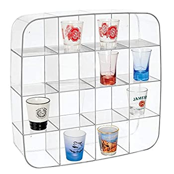 mDesign Plastic Wall Mount Display Organizer Holder - 16 Compartments - Protect Store and Show Off Small Collectibles Figurines Shot Glasses Nail Polish Colors Spices - Clear