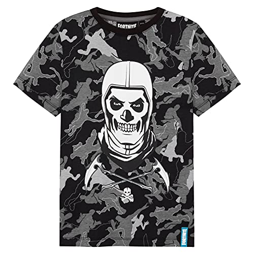 Fortnite Camiseta Niño De Manga Corta, Camiseta De Algodón con Estampado De Camuflaje, Ropa Gamer con Skull Trooper, Regalos para Niños 7-14 Años (Nero, 9-10 años)