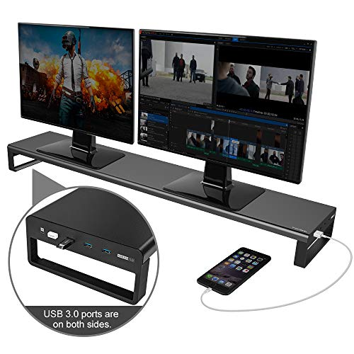 Dual Monitor Stand Riser with 8 USB 3.0 Hub Ports, Aluminum Strong&Sturdy for Computer, TV, PC, Printer, Multi Media Speaker-Multifunctional Desktop Organizer