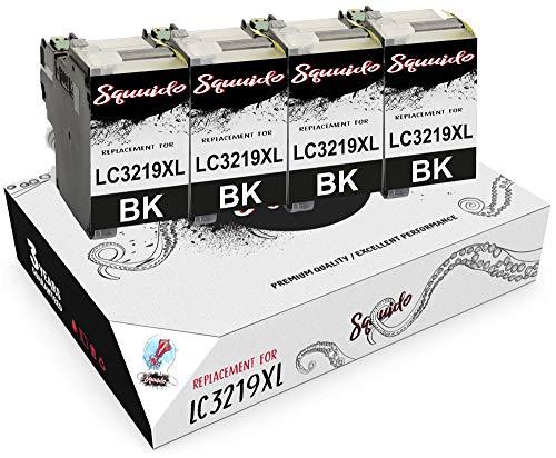 Squuido 4 nero cartucce d'inchiostro LC3219XL LC3217 compatibili con Brother MFC-J6530DW MFC-J6930DW MFC-J6935DW MFC-J5330DW MFC-J5335DW MFC-J5730DW MFC-J5930DW | Alta Resa 3000 pagine