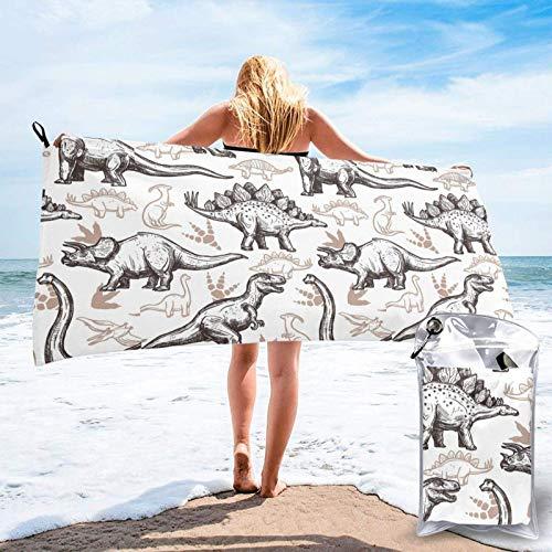 FLDONG Toalla de secado rápido con impresión de huellas de dinosaurios, toalla de microfibra, ultra suave, compacta, adecuada para camping, gimnasio, playa, hogar 81.5 x 153 cm