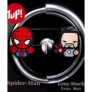 2 x Coolest Novelty Car Air Fresheners! Marvel Avengers, Game Of Thrones, Deadpool, Antman, Star Wars, Batman, Superman, Hulk, Thor, Ironman, Captain America, Black Widow, Hawkeye, Ninja Turtles...Transform Your Boring Car Into The Coolest Car In 60 Seconds! FREE DELIVERY IN 2 TO 3 DAYS! (AvengersSpider-Man & Iron Man Tony Stark (Fresh Lemon)):Cartoonhd