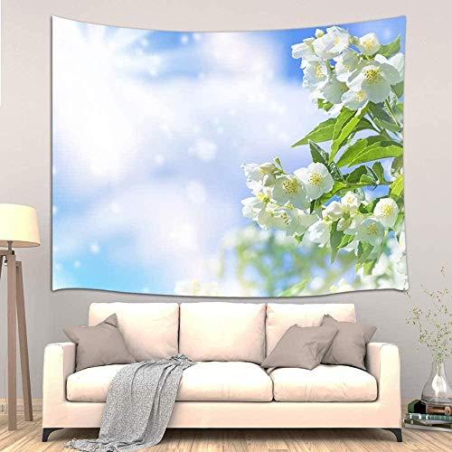TEDDRA Tapiz floral para colgar en la pared, jardín de verano, flores de jazmín blanco y cielo azul, decoración de pared para dormitorio, sala de estar, 150 x 130 cm