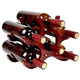 W27 木製 ワインラック ホルダー ワイン シャンパン ボトル ウッド 収納 組立式 ケース スタンド インテリア ディスプレイ (6本用)