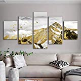 Visuelle 5 stücke Abstrakte Landschaft Wandkunst Leinwand Gemälde Gelb Schnee Berg und Vögel Landschaft Poster Dekorative Bild für Zuhause Geschenk