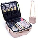 MONSTINA Makeup Train Cases Professional Travel Makeup Bag Cosmetic Cases Organizer Portable Storage Bag for Cosmetics Makeup Brushes Toiletry Travel Accessories (Rose gold)