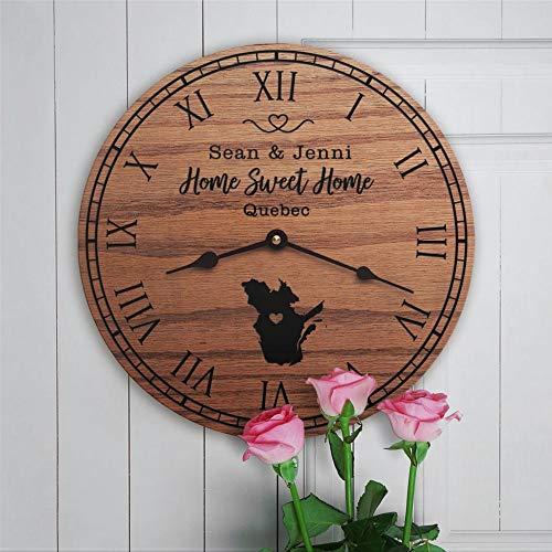 Quebec - Reloj de pared de madera, funciona con pilas, diseño de mapa de Quebec