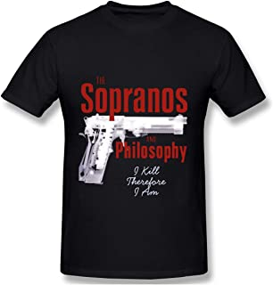 Senzioods-Fashion Men's The Sopranos and Philosophy Classic Shirts Black with Casual Short Sleeves