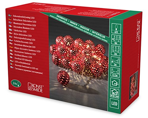 Konstsmide Decoration Indoor 24 LEDs Red Moroccan Style Metal Balls Light String - Warm White