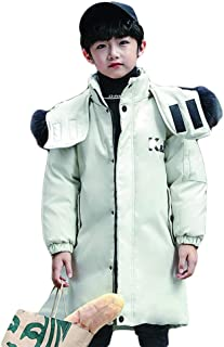 Black and White Boys and Girls Down Jacket, Long Section 2019 New Big Children White Duck Down Korean Thick Thick Fur Collar Coat,White,120