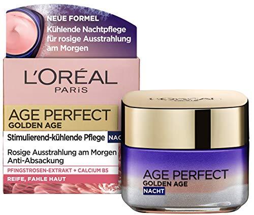 L'Oréal Paris Nachtpflege, Age Perfect Golden Age, Anti-Aging Gesichtspflege, Festigung und Glanz, Für reife und fahle Haut, Mit Pfingstrosen-Extrakt, 50 ml