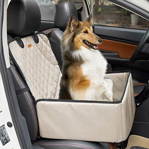 Felicificer 2-in-1 Pet Front Seat Cover Pet Booster Seat,Deluxe Dog Car Front Seat Cover for Car Non-Slip Backing Waterproof Washable with Safety Belt