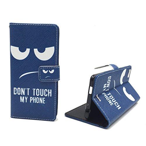 König Design Handyhülle Kompatibel mit Wiko Highway Pure Handytasche Schutzhülle Tasche Flip Hülle mit Kreditkartenfächern - Don't Touch My Phone Weiß Dunkelblau