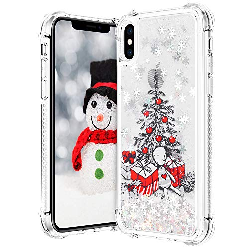 VEGO Christmas Case for iPhone Xs Max, Glitter Flowing Liquid Sparkle Floating Bling Christmas Tree Pattern TPU Clear Cute Girly Children Women Gifts Case for iPhone Xs Max 6.5 inch (Tree)