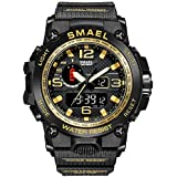 KXAITO Men's Watches Sports Outdoor Waterproof Military Wrist Watch Date Multi Function Tactics LED Alarm Stopwatch (01_Gold)
