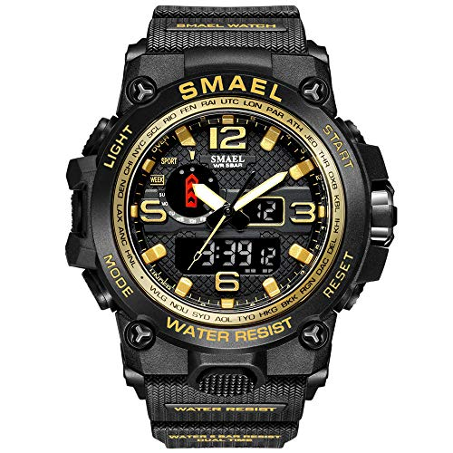 KXAITO Men's Watches Sports Outdoor Waterproof Military Watch Date Multi Function Tactics LED Alarm Stopwatch (01_Gold)