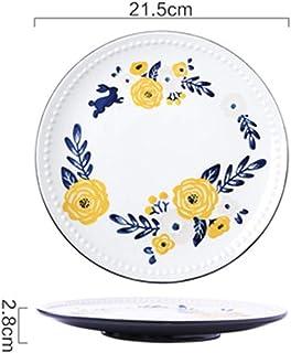 Nwn 2 Creative Four Seasons Hand-Painted Underglaze Color Plate Tableware Flat Plate Western Steak Dish Dessert Table (Color : A)