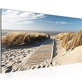 Bild SENSATIONSPREIS !!! 6040141a !!! 100 % MADE IN GERMANY !!! Bilder Bild auf Leinwand XXL 120 x 40 cm Wandbild Landschaft, Strand, Sand, Meer, Steeg Kunstdrucke,