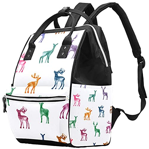 Large Capacity Diaper Bag Multi-Function Waterproof Mummy Backpack for Mom and Dad Hand Draw Reindeer