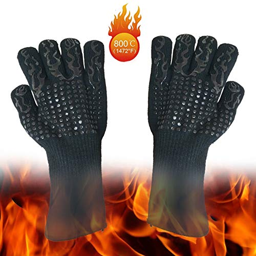 ZXPzZ Extreme Heat Resistant Gloves, BBQ Grilling Gloves, Oven Mitts, Potholders, 5 Fingers Glove - Fireplace Accessories And Welding, Baking,Cooking,Fire Pan And Pizza Oven (1 Pair)