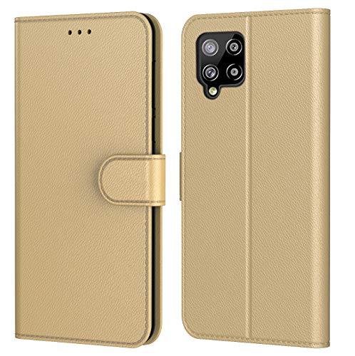 HL Schutzhülle für Samsung Galaxy A42 5G, Schutzhülle Premium aus PU-Leder, Magnetverschluss, verschiedene Farben erhältlich (Samsung A42 5G, Book Gold)