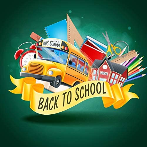 OERJU 10x10ft Back to School Themed Backdrop for Photography Ribbon School Bus Pencil Notebook Class Learning Tools Chalkboard Photoshoot Background Party Decor Banner Kids Portrait Photo Studio Prop