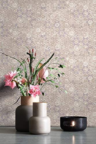 NEWROOM Tapete Beige Vliestapete Mosaik - Fliesenoptik Vintage Taupe Flieder Fliesen Blumen Mustertapete Floral Blumentapete inkl. Tapezier-Ratgeber