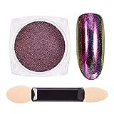 Jilibaba Polvo de uñas metálico cromado con purpurina holográfica para decoración de uñas, diseño de decoración de uñas para mujeres y niñas
