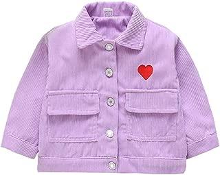 Xifamniy Infant Girls Long Sleeve Coat Cotton Corduroy Heart Embroidery Girls Jacket