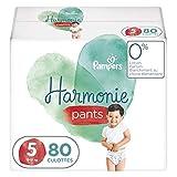Pampers Couches-Culottes Harmonie Pants Taille 5 (12-17kg) Protège la Peau Sensible des Bébés, Ingrédients d'Origine Végétale, Faciles à Changer, 80 Couches-Culottes (Lot de 4x20)