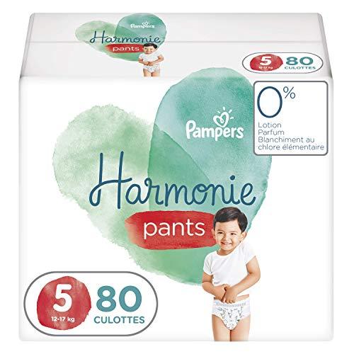 Pampers Couches-Culottes Harmonie Pants Taille 5 (12-17kg) 0% de compromis, 100% d'absorption, Ingrédients d'Origine Végétale, Faciles à Changer, 80 Couches-Culottes (Lot de 4x20)