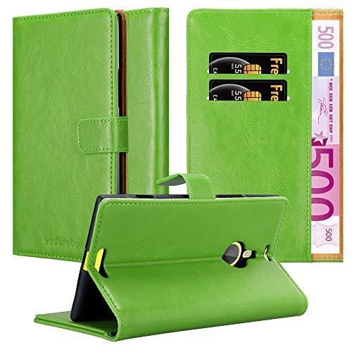 Cadorabo Hülle für Nokia Lumia 1520 - Hülle in Gras GRÜN – Handyhülle im Luxury Design mit Kartenfach & Standfunktion - Hülle Cover Schutzhülle Etui Tasche Book