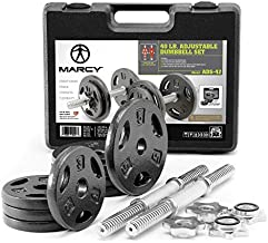 Marcy Adjustable Cast Iron Dumbbell Set with Case, Plates, Handles and Collars ADS-42, Chrome, 40 lb.