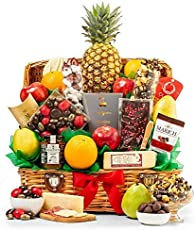 GiftTree Taste of Extravagance Fruit Basket | Fresh Pineapple, Oranges, Pears & Apples | Includes Irish Honey, Spicy Sausage, Apple Walnut Cheese & More | Great Holiday Gift
