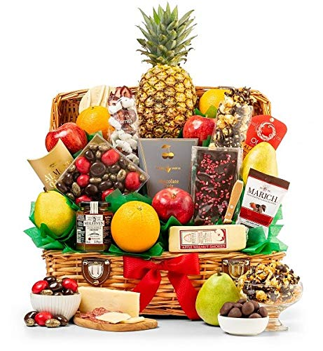 GiftTree Taste of Extravagance Fruit Basket   Fresh Pineapple, Oranges, Pears & Apples   Includes Irish Honey, Spicy Sausage, Apple Walnut Cheese & More   Great Holiday Gift