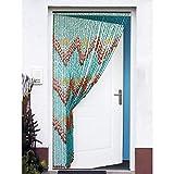 Hogar y Mas Cortina para Puerta de Bambú Natural, Azul Marino. Sostenible, exenta de plástico 90cm...