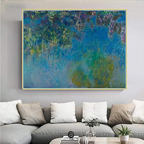 FANYUEART Claude Monet ister Glyzinien》 Leinwand Wandkunst Ölgemälde Poster Bilder für Schlafzimmer Wanddekoration Moderne Wohnaccessoires 40x50cm 16'x20 (Rahmenlos)