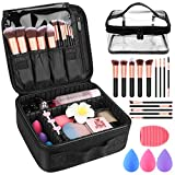 Makeup Travel Case, Makeup Case with DIY Adjustable Divider Cosmetic Train Bag 10.3' Organizer Perfect Set Contain 14pcs Premium Makeup Brushes 3 pcs Makeup Sponge Travel Bag Makeup Brush Cleaner