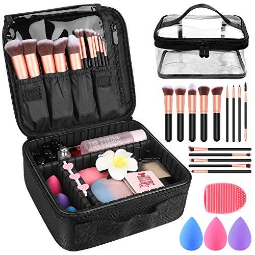 Makeup Travel Case, Makeup Case with DIY Adjustable Divider Cosmetic Train Bag 10.3  Organizer Perfect Set Contain 14pcs Premium Makeup Brushes 3 pcs Makeup Sponge Travel Bag Makeup Brush Cleaner