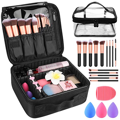 "Makeup Travel Case, Makeup Case with DIY Adjustable Divider Cosmetic Train Bag 10.3"" Organizer"