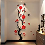 Plum blossom acrylic 3D solid wall sticker living room entrance wall sticker, Chinese wind wall, room decoration,New plum blossom black branch safflower,in