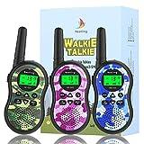 Nestling Walkie Talkie Niños, Camuflaje al Aire Libre 8 Canales LCD Pantalla Linterna Incorporado VOX, Rango de 3KM, 10 Tonos de Llamada Walkie Talkie Niñas Juguete Regalo (3pcs Camuflaje)