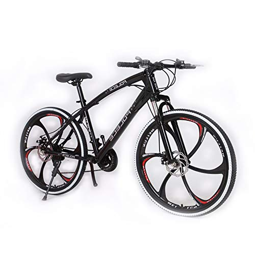 Mountain Bikes, New Python Shaped Mountain Bike for Men Women, One Wheel Double Disc Brake, 26' (Black)