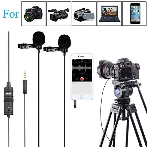 Boya BY-M1DM Dual Omni Directionele Lavalier-microfoon Revers Clip-on-condensator microfoon voor DSLR-camera camcorder voor iPhone Android Smartphone audio-recorder PC en andere opnames