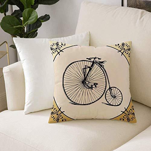 Fundas de Cojines (50 x 50cm) - Cremallera Invisible,Bicicleta, bicicleta retra grande y pequeña cansada sobre un fondo floral enmar, Decorativa, Lavable Funda Almohada para Sala de Estar, Dormitorio