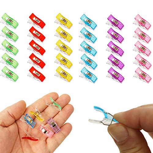 Stoffklammern, Alternative zu Stecknadeln, 30 Pack, halten Stofflagen fest zusammen, Stoff Clips, Stoff Nähte fest zusammenhalten, Näh Zubehör, Nähklammern, Bastelklammer, Nähmaschinenhelfer Naht